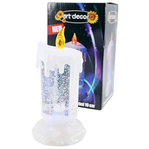LED Glitzer-Wirbel, leuchtende LED Kerze mit sanftem Farbwechsel, Höhe ca. 19cm