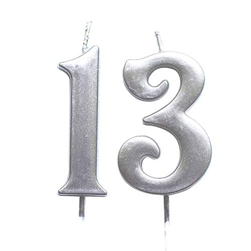 MAGJUCHE Silver 13th Birthday Numeral Candle, Number 13 Cake Topper Candles Party Decoration for Girl Or Boy