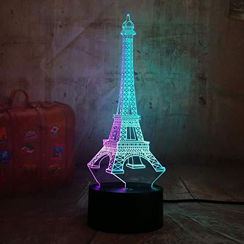 Jiushixw 3D acryl nachtlampje met afstandsbediening van kleur veranderende tafellamp mooie romantische Eiffeltoren gemengd dubbele verjaardag tafellamp dimschakelaar luchtbevochtiger
