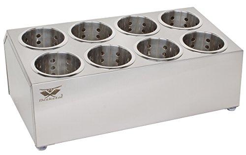 Beeketal 'BBK-8' Profi Gastro Besteckbehälter aus Edelstahl poliert inkl. 8 Köcher zweireihig, entnehmbare Besteck Köcher, Oberfläche leicht abgeschrägt - Abmessung (L/B/H): ca. 505 x 305 x 200 mm