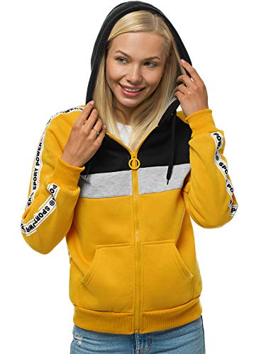 OZONEE Damen Kapuzenpullover Sweatjacke Sweatshirt Farbvarianten Kapuzenjacke Kapuzenpulli Kapuze Langarm Hoodie Sport Style Casual Fitness Training Motiv 777/5814B GELB M
