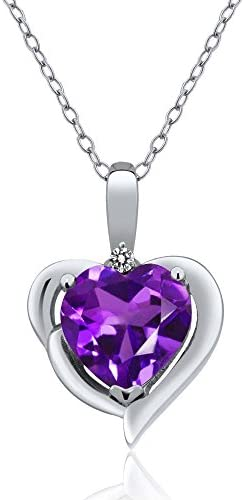 Gem Stone King Purple Amethyst and White Diamond 925 Sterling Silver Pendant Necklace 1 42 Ct product image