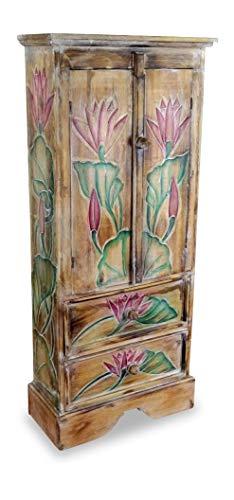 livasia Balinesischer 2 türiger Schrank mit Zwei Schubladen, Landhausstil, Küchenschrank, Wohnzimmer Schrank, Kommode, aus Bali (Handarbeit) (Natur/Muster)