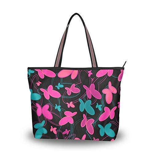 Ahomy Bolso grande de la playa de las mariposas del patrón del bolso de asas del viaje de la bolsa de compras, color Multicolor, talla L
