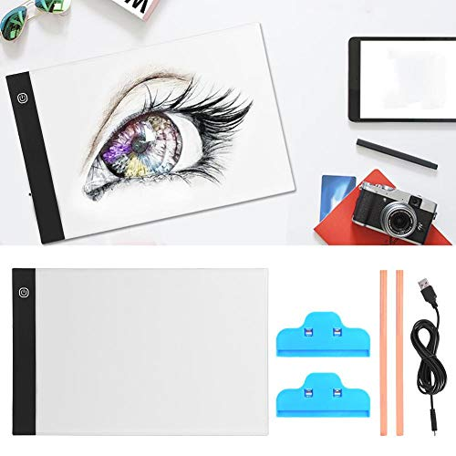 HEEPDD Caja de luz LED, Tablero de trazado de atenuación Gradual A4 con Cable de alimentación USB Lápices Clips para niños Artistas Dibujo Bocetos Animación