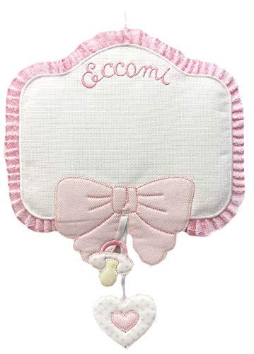 Lazo de nacimiento Eccomi rosa de niña, para bordar con lazo y chupete colgados todo en suave algodón
