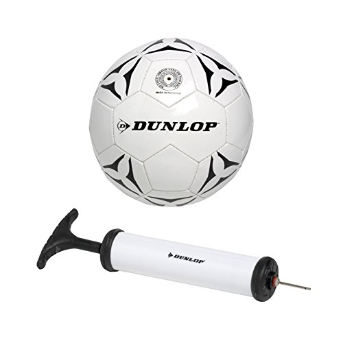 Dunlop Fußball Mit Pumpe, weiß mit schwarz, 5