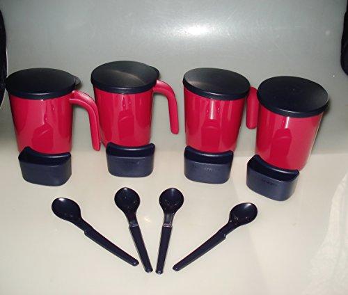 Tupperware Allegra Becher 4x Henkelbecher mit Deckel, HängeLöffel & Halter für Teebeutel/Kekse Becher je 300 ml Tasse
