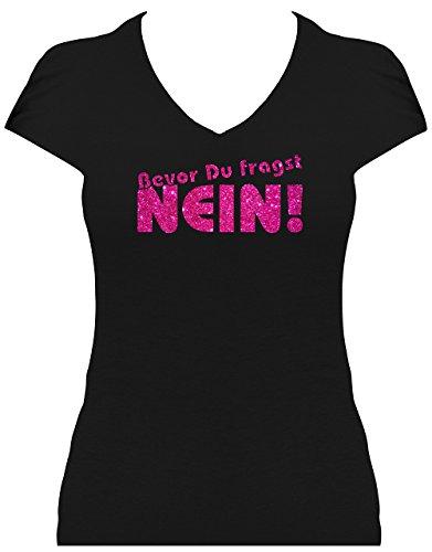 Fun Shirt Premium Sprüche Damen Glitzeraufdruck Bevor Du fragst Nein!, T-Shirt, Grösse XL, Druck pink Glitzer