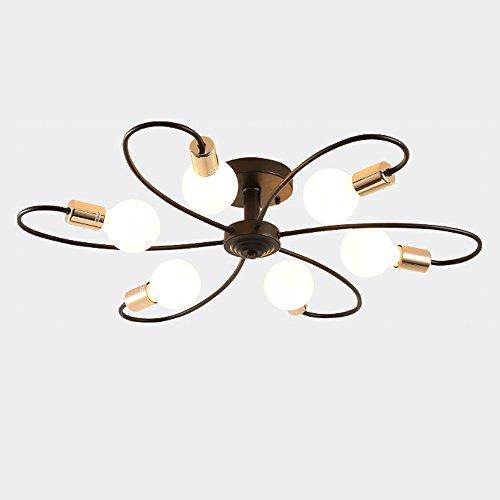 Nordic multi-Headed plafondlamp, in Europese stijl LED zwart ijzer curved verlichting decoratieve plafondlamp, woonkamer slaapkamer kantoor plafondlamp, 3/6/8 lamp