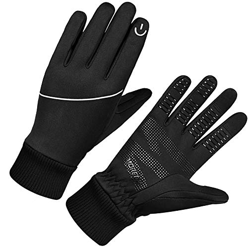 MOREOK Winterhandschuhe Touchscreen Handschuhe für Damen und Herren,Radsporthandschuhe zum Laufen Handschuhe Radfahren Motorrad Sport Schwarz MK023-L
