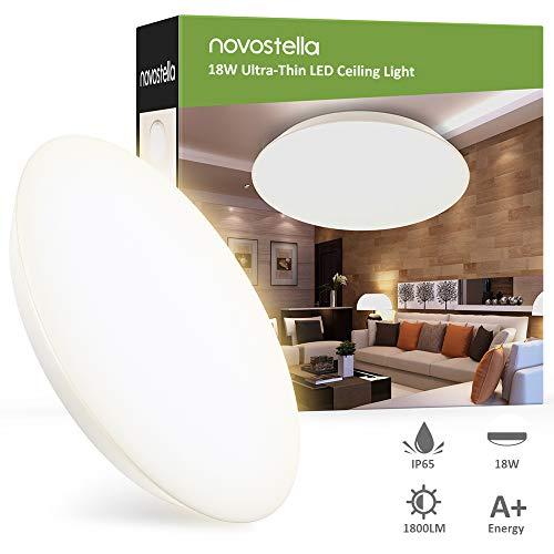 Novostella Badlampe Badezimmer Lampe 18W 1800LM Warmweiß 3000K Ersetzt 120W, LED Deckenlampe Ultradünn IP65 Wasserdicht Ø30cm Deckenleuchte für Badezimmer Küche Wohnzimmer Balkon Flur