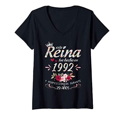 Mujer 29 Años Cumpleaños Mujer Regalo Nacido En 1992 Hecho En 1992 Camiseta Cuello V