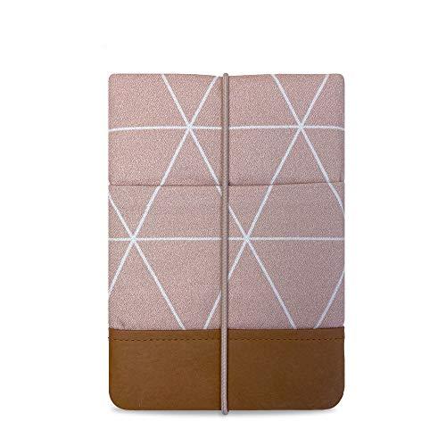 """Kuratist eBook Reader Hülle 6"""" Zoll- Handgemacht aus 100% Baumwolle und Kantenschutz aus Papier (100% Vegan) (z.B. Tolino Shine 2/3 HD/Vision 2/3/4 HD, Triangles Dusty Pink)"""
