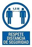 Cartel resistente PVC - RESPETE DISTANCIA SEGURIDAD -Señaletica COVID 19 - Señal de aviso - ideal para colgar y advertir