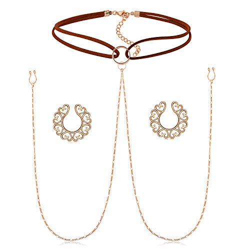QWALIT Fake Nipple Ring Stainless Steel Non Piercing Nipple Rings Clip On Heart Nipplerings with Choker Chain Faux Body Piercing Jewelry for Women Men