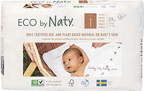 Eco by Naty, Taglia 1, 100 pannolini, 2-5kg, fornitura di UN MESE, Pannolino ecologico premium a base vegetale con lo 0% di plastica a base di petrolio sulla pelle, 4 pezzi (4 x 25 pezzi)