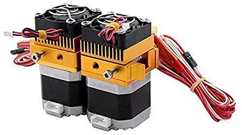 JJDSN Extrusora de Doble Cabezal MK8 12V40W, Piezas de impresoras 3D, Boquilla de 0,3 mm, extrusión de Hotend, filamento de 1,75 mm con Ventilador de Motor