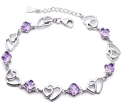 findout swarovski ametista, rosso, rosa blu bianco di cristallo del cuore braccialetto d'argento, per le donne le ragazze