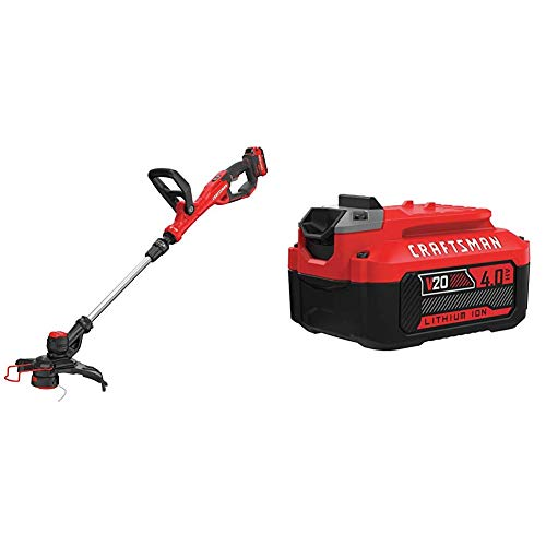 Read About CRAFTSMAN V20 String Trimmer/Edger with Extra 4Ah Battery (CMCST910M1 & CMCB204)