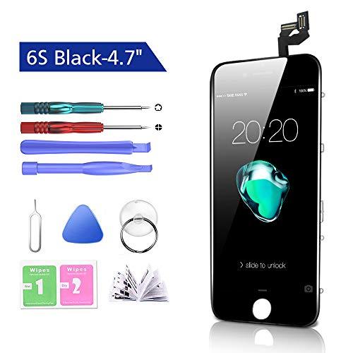Htechy Kompatible mit iPhone 6s Display Schwarz Komplettes LCD Ersatz Retina Set Für Touchscreen Bildschirm Glas mit Kostenlose Werkzeug