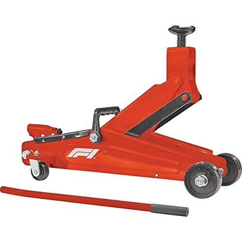 Formula 1 hydraulischer Rangierwagenheber für SUV, 3 Tonnen Tragkraft, mit Tragegriff, Auflagefläche 360° drehbar, lenkbare Rollen