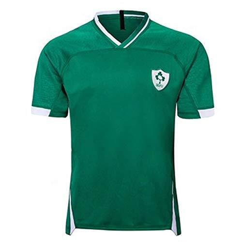 Camiseta de Rugby 2019 Copa Mundial de Japón Irlanda Inicio Camiseta de fútbol Sudadera Manga Corta Adecuado para Estudiantes Niños Adultos Buen Partido-L
