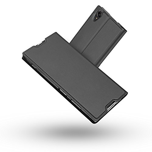 Radoo Sony Xperia XA1 Plus Hülle, Premium PU Leder Handyhülle Brieftasche-Stil Magnetisch Folio Flip Klapphülle Etui Brieftasche Hülle Schutzhülle Hülle Cover für Sony Xperia XA1 Plus (Schwarz grau)