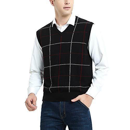 Kallspin Cashmere Wol Blended Gebreide Gilets Losse Fit V-hals Plaid Mouwloze Jumper Knitwear