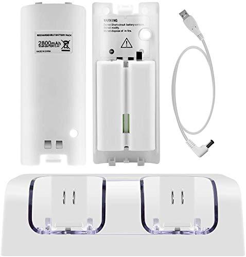 Jevogh Akku für Wii-Fernbedienungen, 2-teilige 2800 mAh Akkus mit hoher Kapazität für Nintendo Wii-Fernbedienung - Weiß