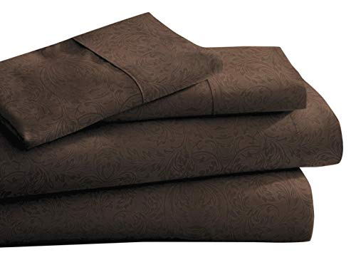 CC&DD HOME FASHION Luxury Lightweight Super Soft Easy Care Double Brushed Microfiber 3/4-piece Sheet Set with Deep Pockets-Queen, Dark Brown Paisley Embossed