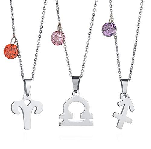 Beydodo Edelstahl Damen Halskette Silber Waage Rosa Geburtsstein Anhänger Kette für Frauen Silber Freundschaftskette
