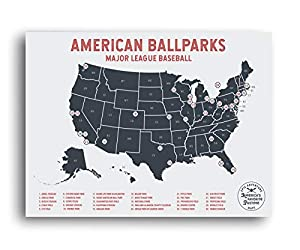 EXPLORE AMERICAN PRO BASEBALL STADIUMS – Step up your gift giving with this Pushpin US Poster highlighting our Major League Baseball parks! Our fun and interactive USA BASEBALL STADIUM map includes ALL USA Professional baseball stadiums. Check off pa...