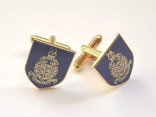 Royal Marines Bleu marine militaire-Boutons de manchettes-Émail-Coffret cadeau