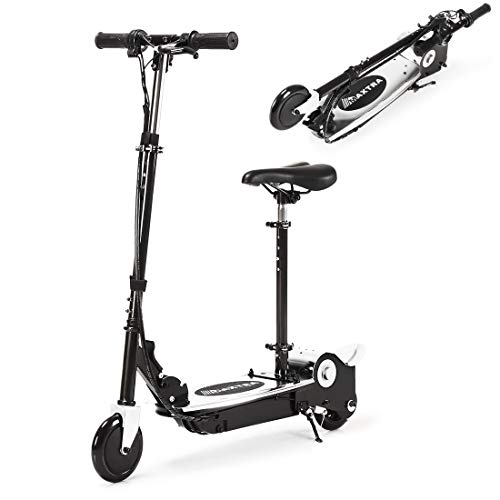 MAXTRA Upgraded E120 Adjustable Handlebar and Seat Folding Electric Scooter with Removable Seat for Kids Ages 6-12, Ride on UL Certified Motorized Scooters - Up to 10MPH and 155LBS Max Load (Black)