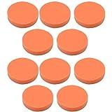 high×tech 洗車 ポリッシャーバフ スポンジ 10個セット 電動 ワックスがけ 研磨 掃除 マジックテープ式 (オレンジ, 125㎜)