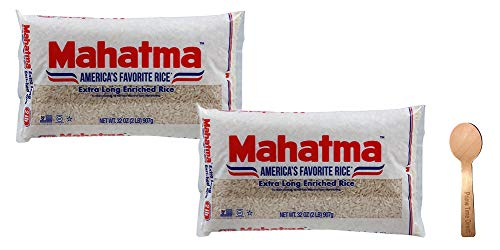 Mahatma White Rice, 2 lbs (Pack of 2) Bundle with PrimeTime Direct Spoon in a PTD Sealed Bag