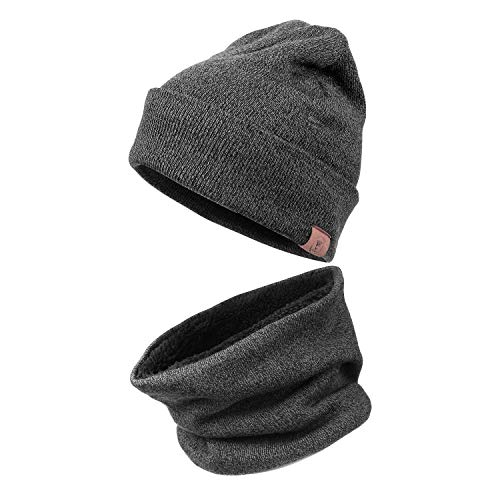 Winter Warm Beanie Hat - Knit Circle Loop Scarf for Men and Women (2 in 1,Grey)