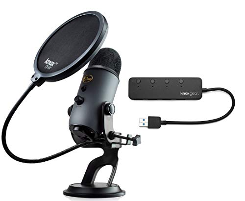 Blue Microphones Yeti Slate USB Microphone with Knox Gear USB Hub and Knox Pop Filter (3 Items)
