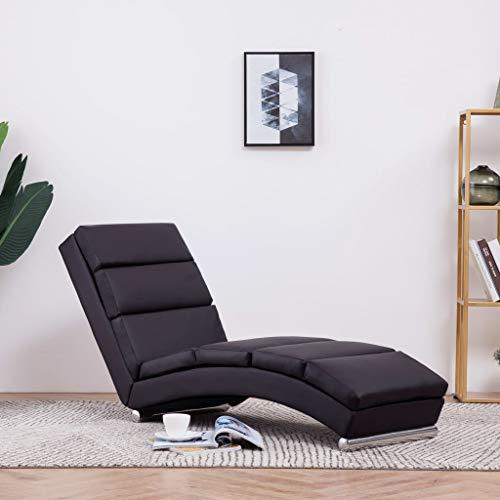 Festnight Relaxliege Liegesessel Lounge Liege | Kunstleder Chaiselongue | Wohnzimmer Liegestuhl Relaxsessel - Braun