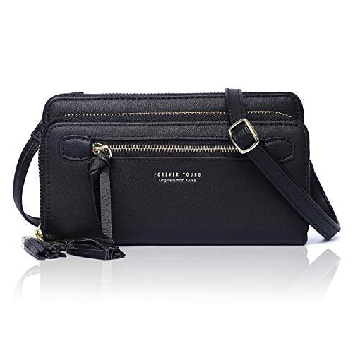 Damen Umhängetasche Kleine Handy Schultertasche Mädchen Frauen Crossbody Phone Bag Taschen PU-Leder RFID-Schutz Elegante und minimalistische(N008BLACK)