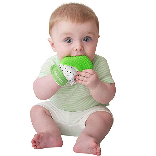 Image of Malarkey Kids Munch Mitt Teething Mitten - The ORIGINAL Mom-Invented Silicone Teether Mitten with Travel Bag Ideal Teething Toys for Baby Shower Gift - Green Polka Dot