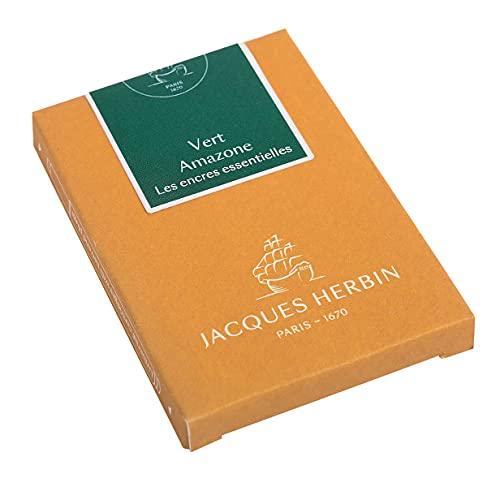 Jacques Herbin 11037JT - Caja de 7 cartuchos grandes, tamaño internacional, para bolígrafos y bolígrafos roller, color verde amazono