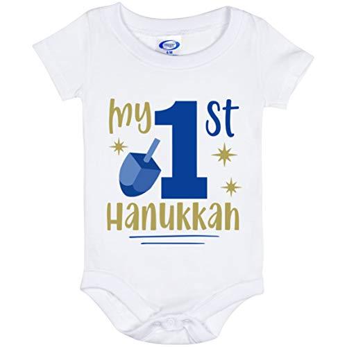 DST Apparel Co My 1st Hanukkah Jewish Baby Boy Bodysuit, Baby's First Hanukkah Jumpsuit, Pregnancy Announcement Gift White