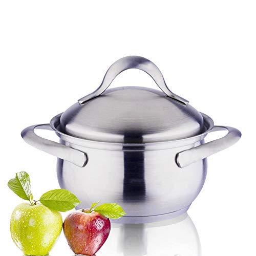Faitout Avec Couvercle casserole en acier inoxydable brossé, Convient à tous les foyers, y compris à induction lave-vaisselle batterie de cuisine,Silver,16cm