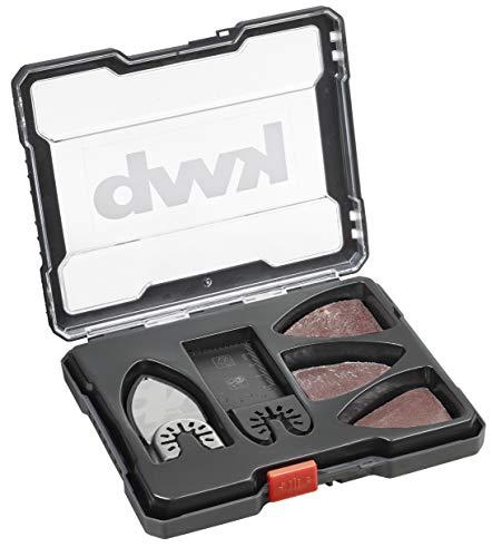 kwb 709890 Multitool-Zubehör im 14-teiligen Set, CV Tauchsäge-Blatt Ø 32 mm, Schleif-Finger mit Kletthaftung inkl. 12 Kletthaft-Schleifscheiben, je 4 x K-40, K-80 u. K-120
