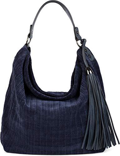 styleBREAKER Damen Hobo Bag Handtasche Strick Optik mit Quaste, Shopper, Schultertasche, Tasche 02012269, Farbe:Dunkelblau