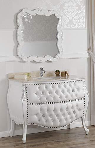 SIMONE GUARRACINO LUXURY DESIGN Meuble Salle de Bain avec Miroir Ramirez Style Baroque Moderne bombé Blanc laqué et Feuille Argent marbre crème Similicuir Blanc