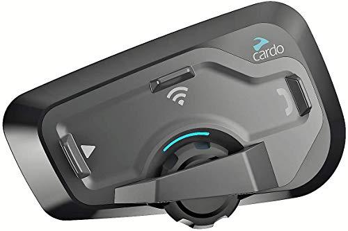 CARDO FRC4P101 freecom 4 plus-sistema de comunicación bluetooth de motocicleta de 4 vías con operación de voz natural, sonido de jbl (paquete doble), negro, Set de 2