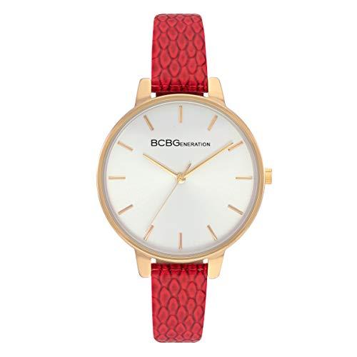 BCBGeneration Ladies Quartz Analog Round Red Genuine Leather Strap Watch -  GN51048005